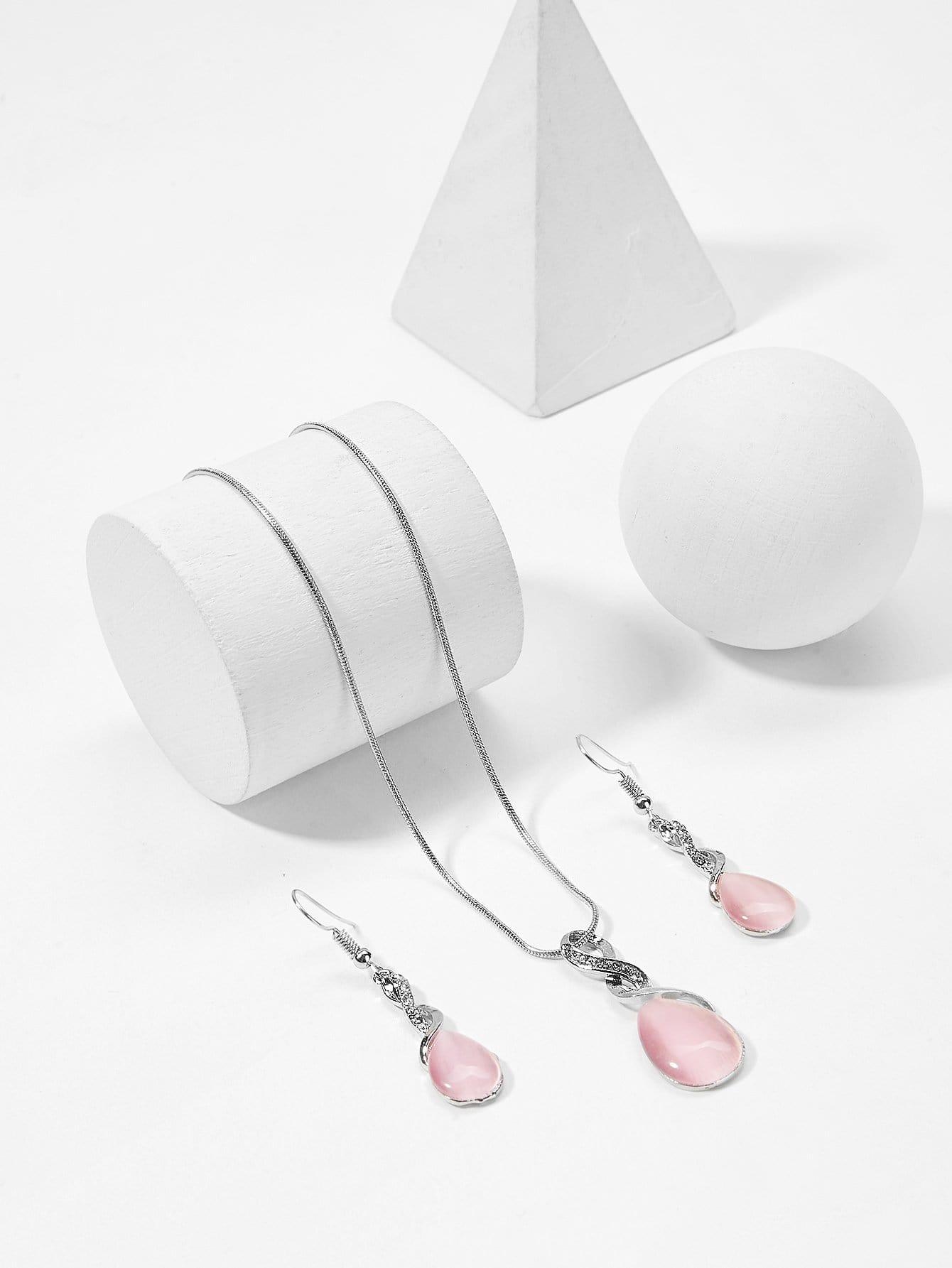 Halskette mit Edelstein Anhänger und Ohrring Set