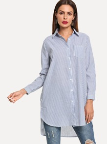 Striped Button Front Curved Longline Blouse