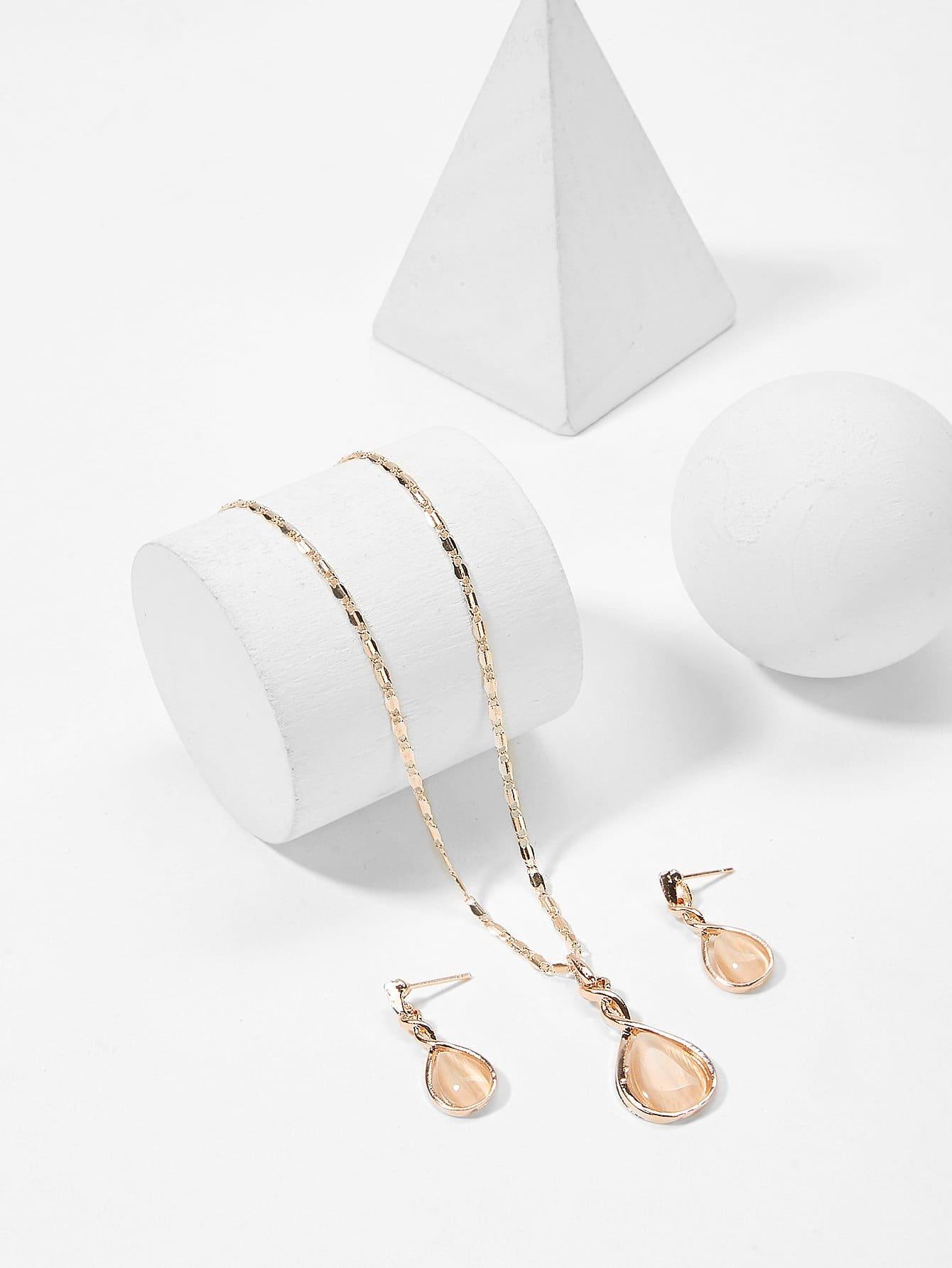 Halskette mit Birne geformtem Anhänger und Ohrringe