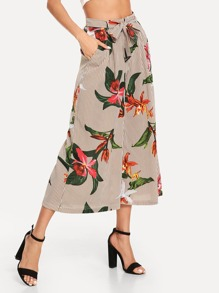 Flower Print Striped Belt Wide Leg Pants