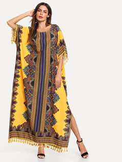 Ornate Print Tassel Trim Poncho Dress