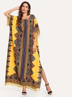 Ornate Print Tassel Trim Poncho Dress
