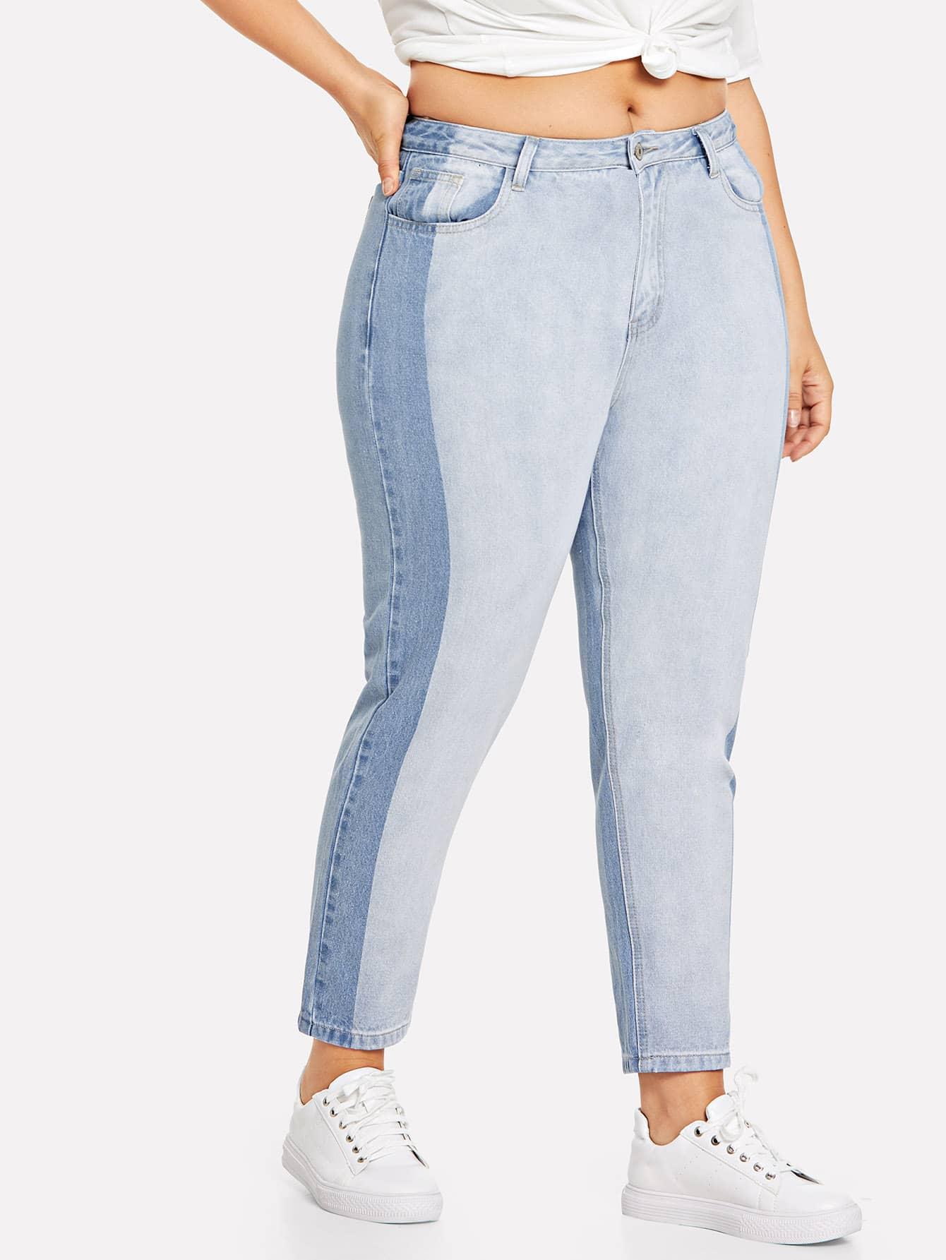 Купить Два тонных вырезать и вышивать джинсы, Franziska, SheIn