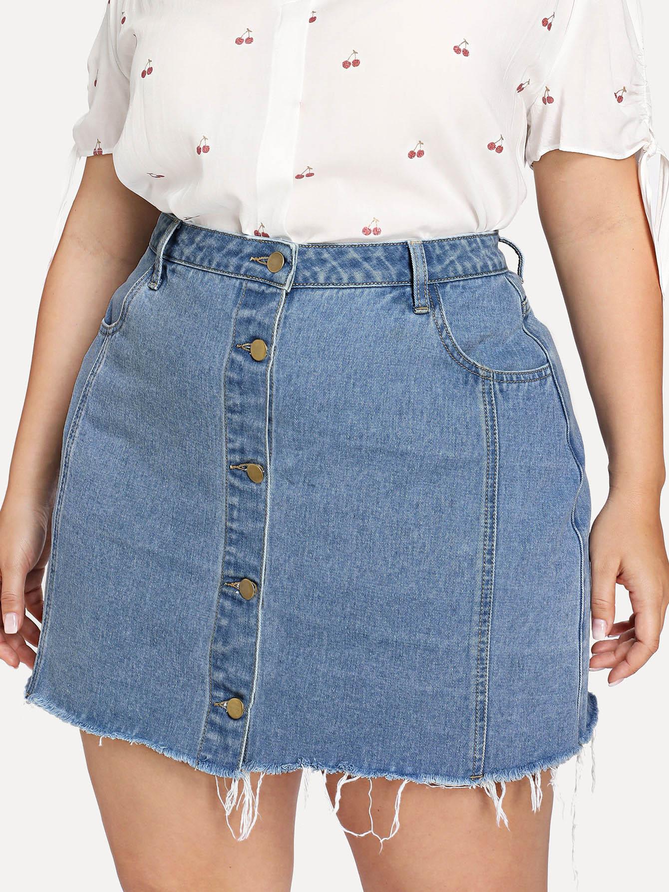 Купить Ручная пуговица через джинсовую юбку, Franziska, SheIn