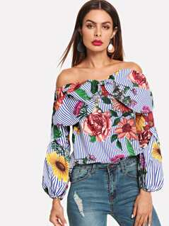 Bow Front Bishop Sleeve Bardot Top