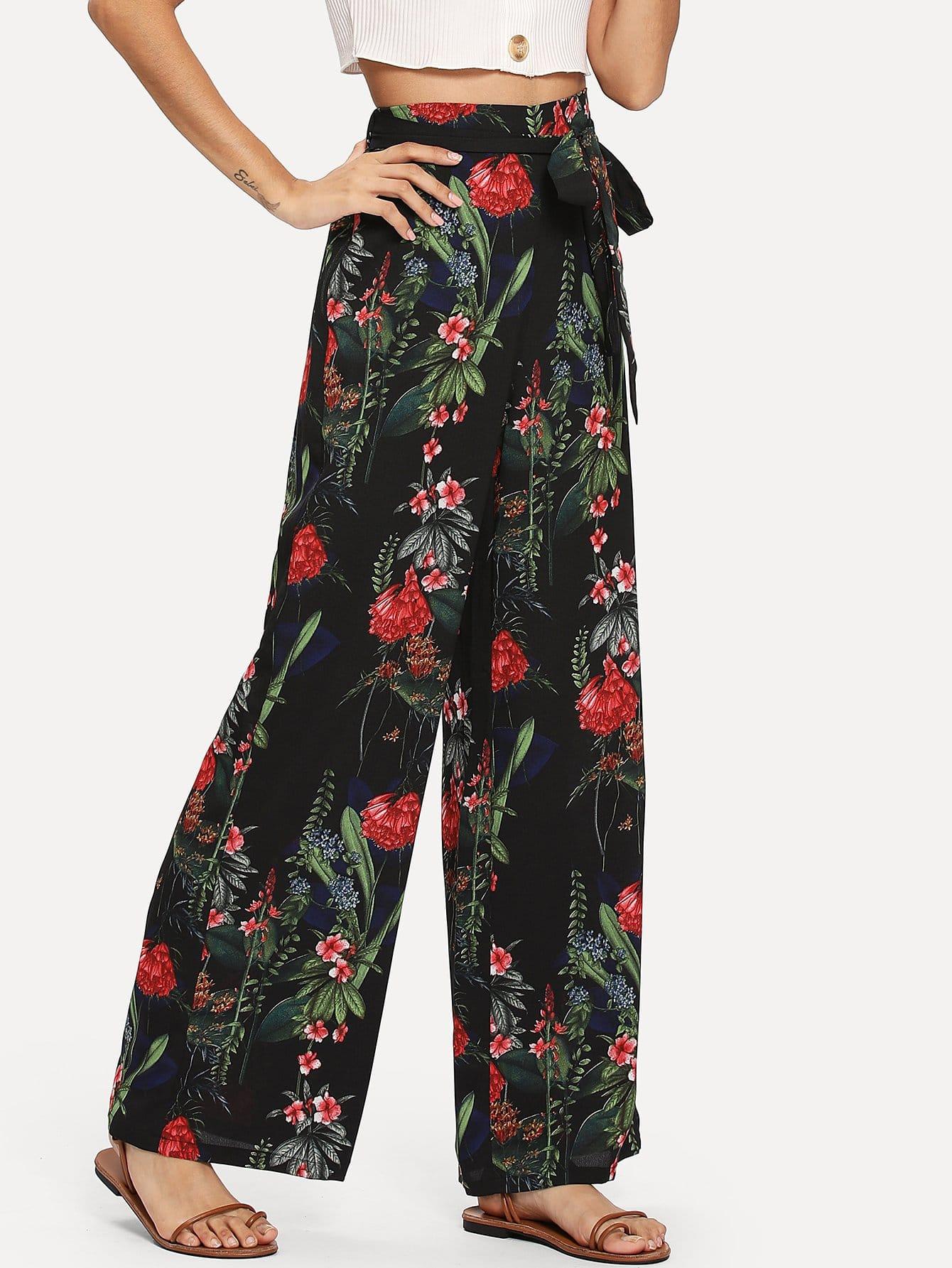 Купить Самоустанавливающиеся ботанические брюки с широкими ногами, Gabi B, SheIn