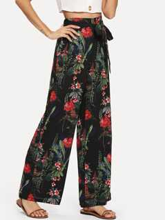 Self Tie Botanical Wide Leg Pants