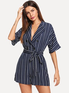 Double Breasted Pinstripe Blazer Romper