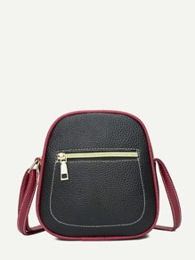 Pebble Detail Contrast Piping Crossbody Bag