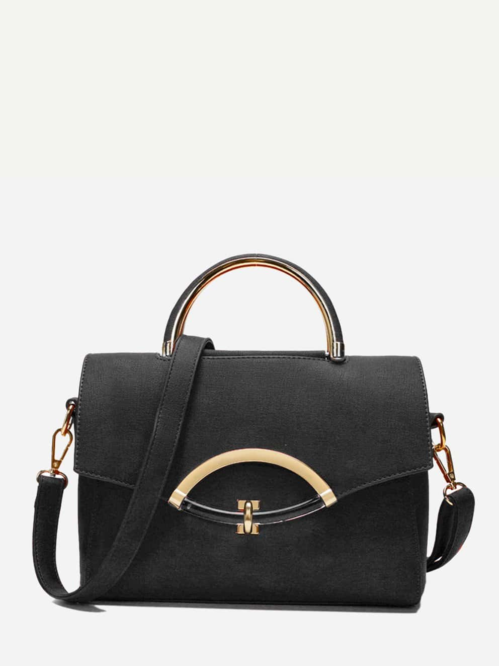 Zip Back Shoulder Bag With Double Handle