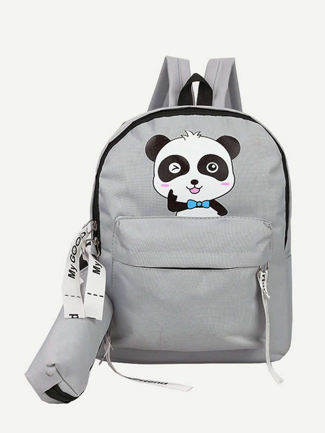 Cartoon Print Backpack With Pencil Case strawberry print pencil case