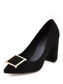 Metal Detail Pointed Toe Chunky Heels