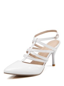 Pointed Toe Cross Strap Stiletto Heels
