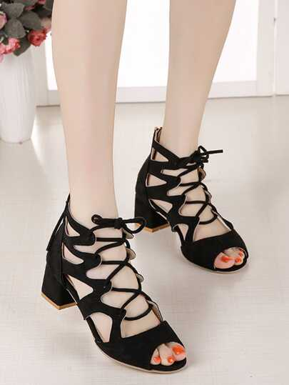 Romwe / Cut Out Lace Up Block Heels