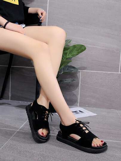 Romwe / Cut Out Lace Up Sandals