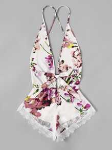Contrast Lace Trim Floral Romper