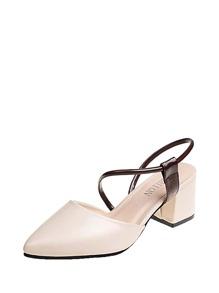 Pointed Toe PU Block Heels