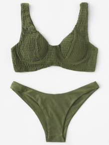 Shirred Plain Bikini Set
