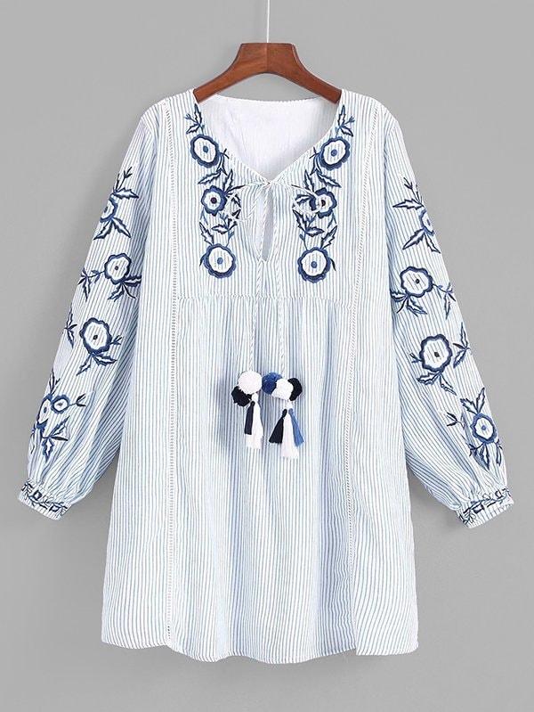 все цены на Tassel Tie Embroidery Babydoll Dress
