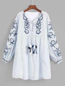 Tassel Tie Embroidery Babydoll Dress