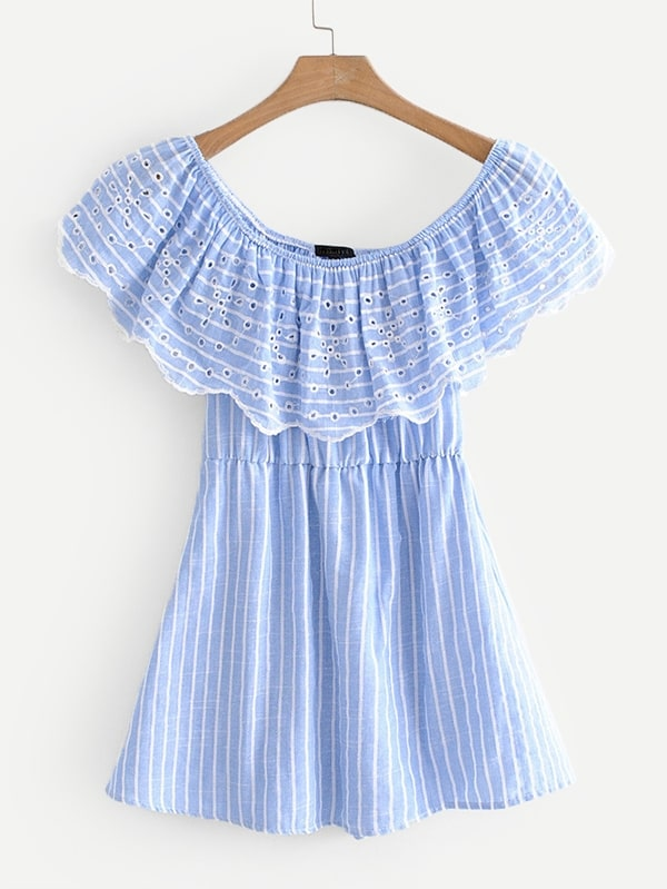 Eyelet Embroidered Ruffle Layer Striped Romper kids ruffle tie neck striped romper