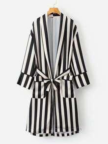 Contrast Stripe Wrap Shirt Dress