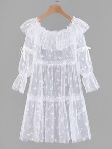 Ruffle Layered Embroidered Mesh Cover Up