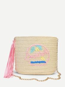 Tassel Detail Straw Chain Bag