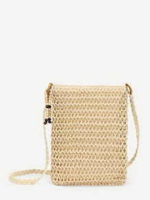 Beads Detail Straw Crossbody Bag