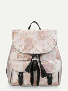 Calico Pattern Flap Backpack With Tassel