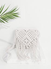 Fringe Tassel Woven Crossbody Bag
