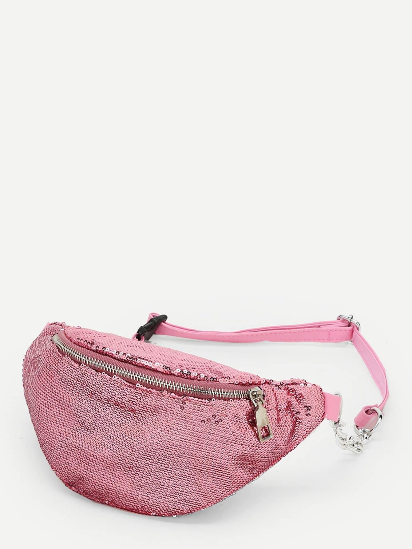 Zipper Front Sequin Overlay Bum Bag sequin overlay triangle design necklace