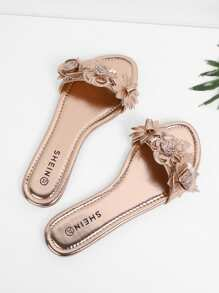 Flower Decorated PU Flat Sandals