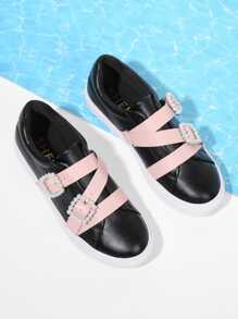 Faux Pearl Decorated PU Sneakers