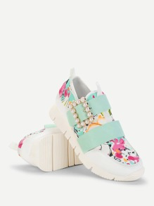 Calico Print PU Sneakers With Faux Pearl