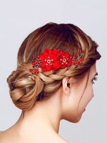 Faux Pearl & Flower Embellished Hair Pin