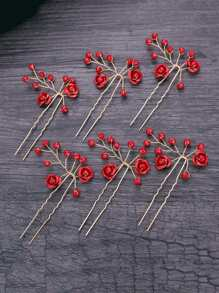 Flower Decorated Hair Pin 6pcs