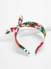 Bow Design Calico Print Headband