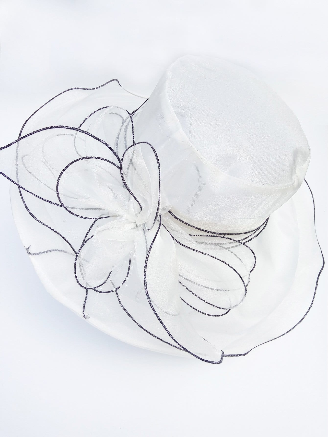 Flower Decorated Mesh Hat