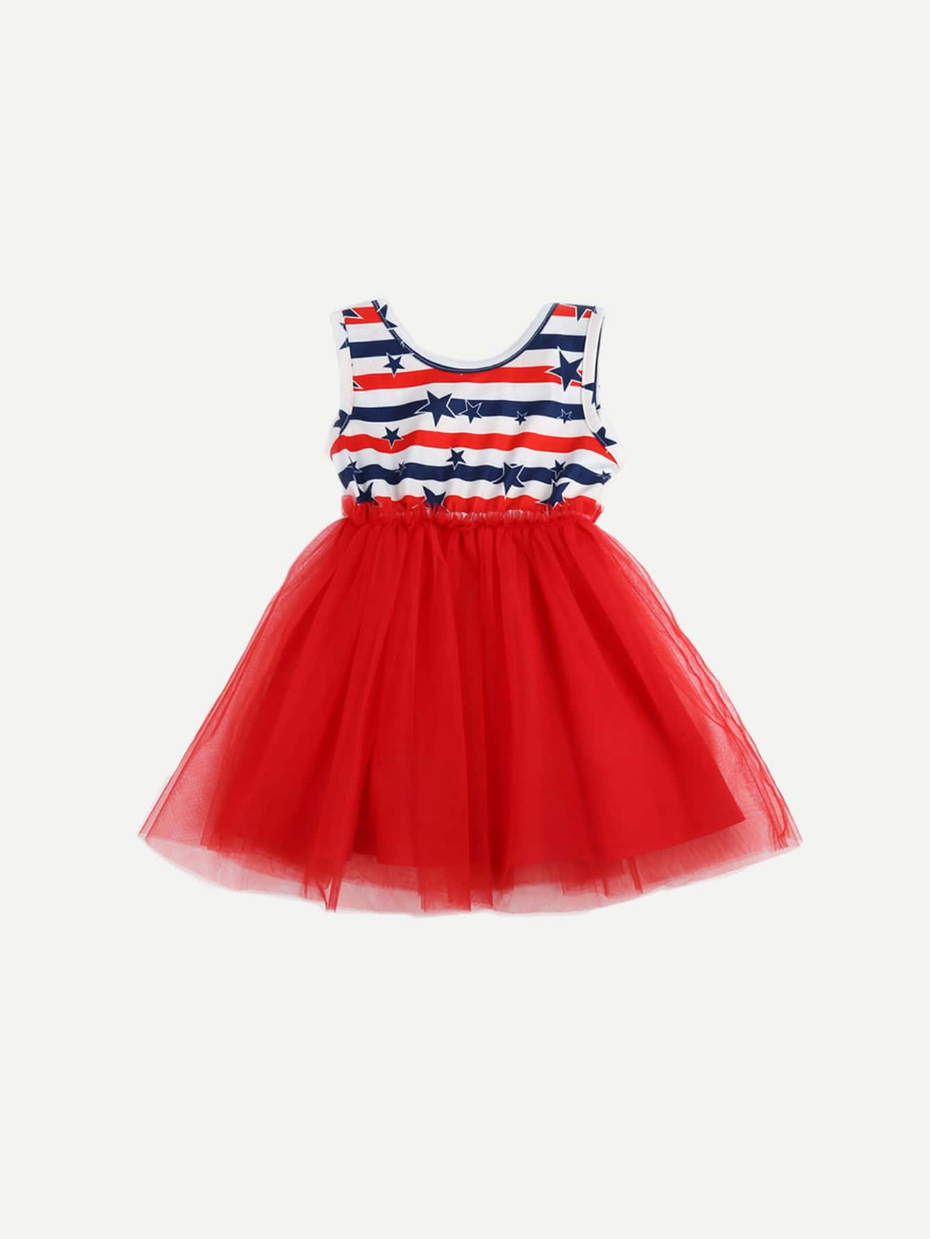 Girls Star Print Striped Contrast Mesh Dress kids contrast striped star print pants