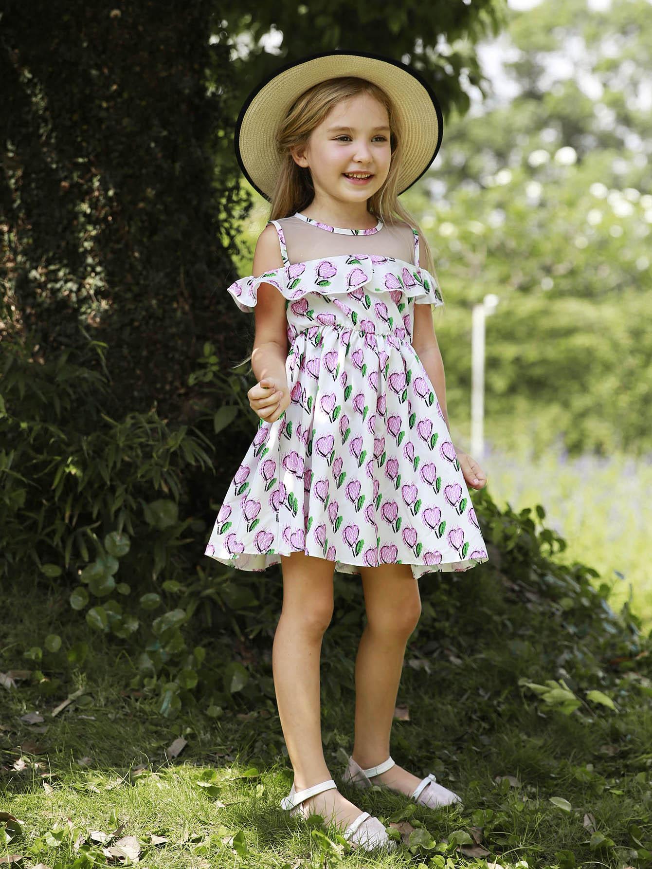 Girls Ruffle Trim Contrast Mesh Dress цена