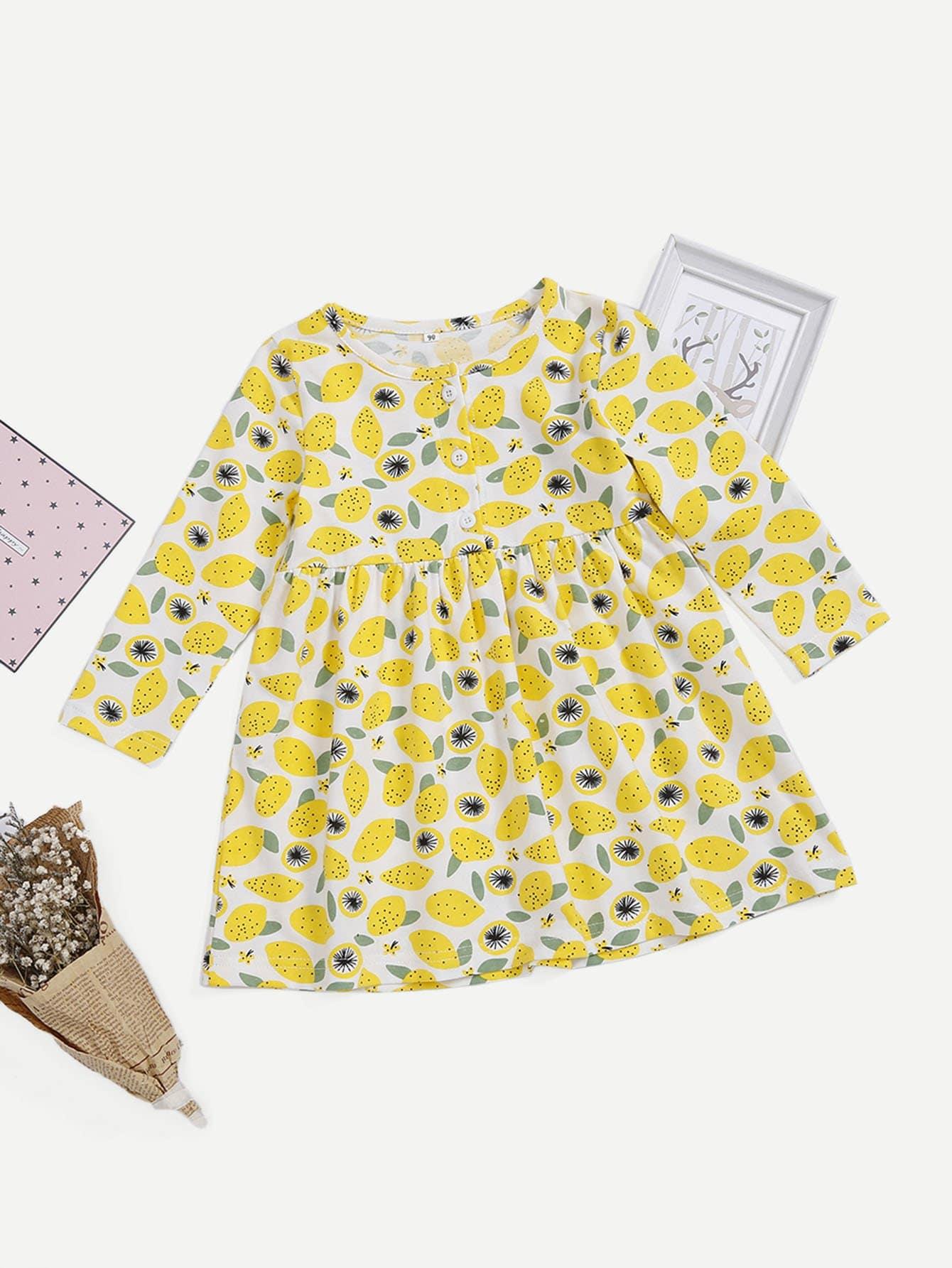 Купить Платье с рисунками лемонов и с украшением пуговиц для девочки, null, SheIn