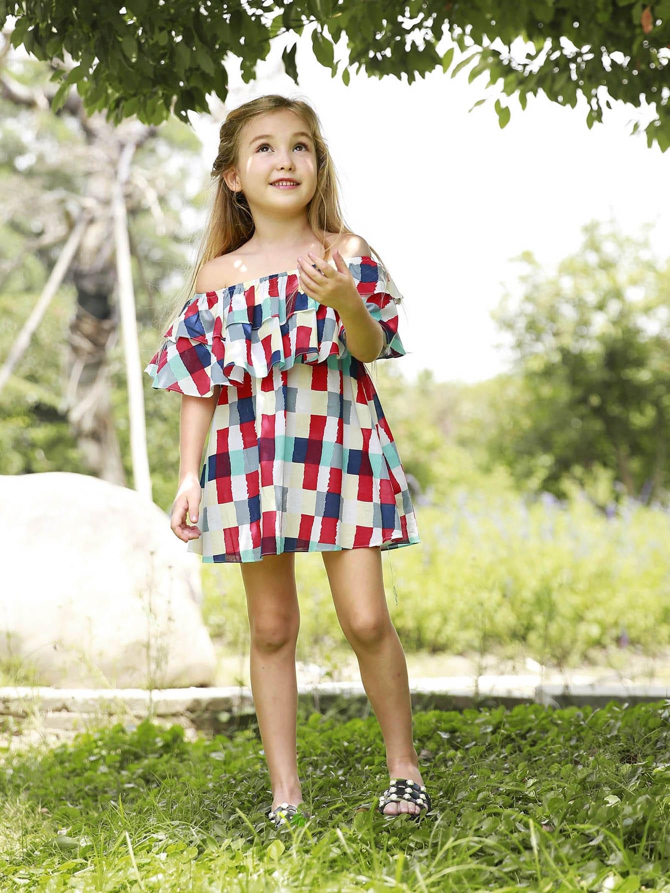 Купить Платье без бретелек с кружевными оборками для девочки, null, SheIn