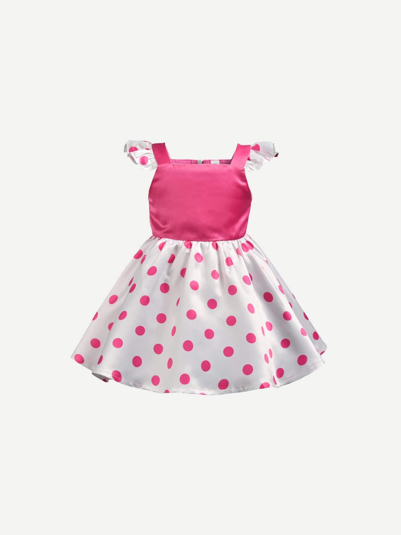 Girls Frill Polka Dot Dress girls frill trim polka dot dress