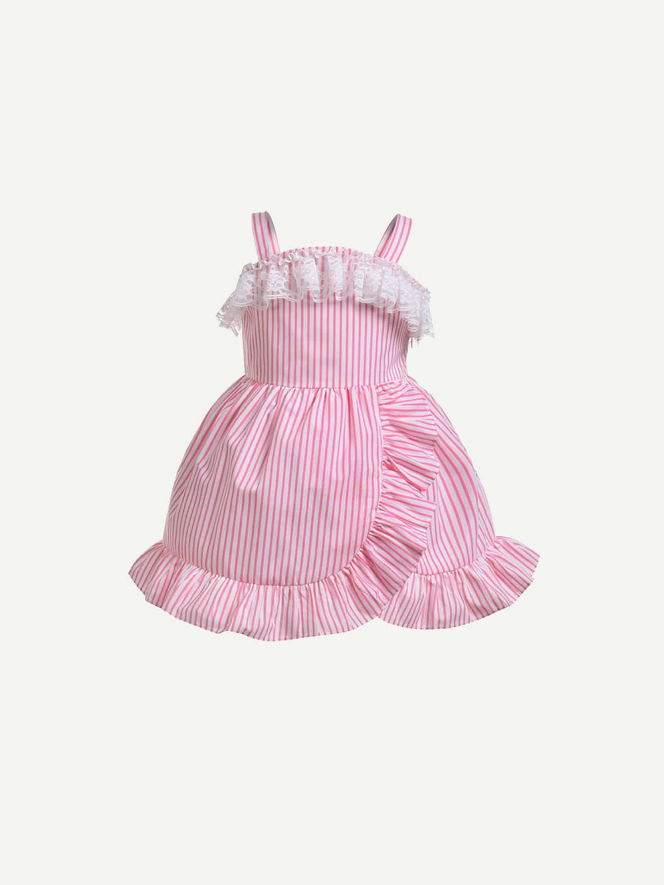 Купить Платье на бретелях и подол с асимметричных кружевных для девочки, null, SheIn