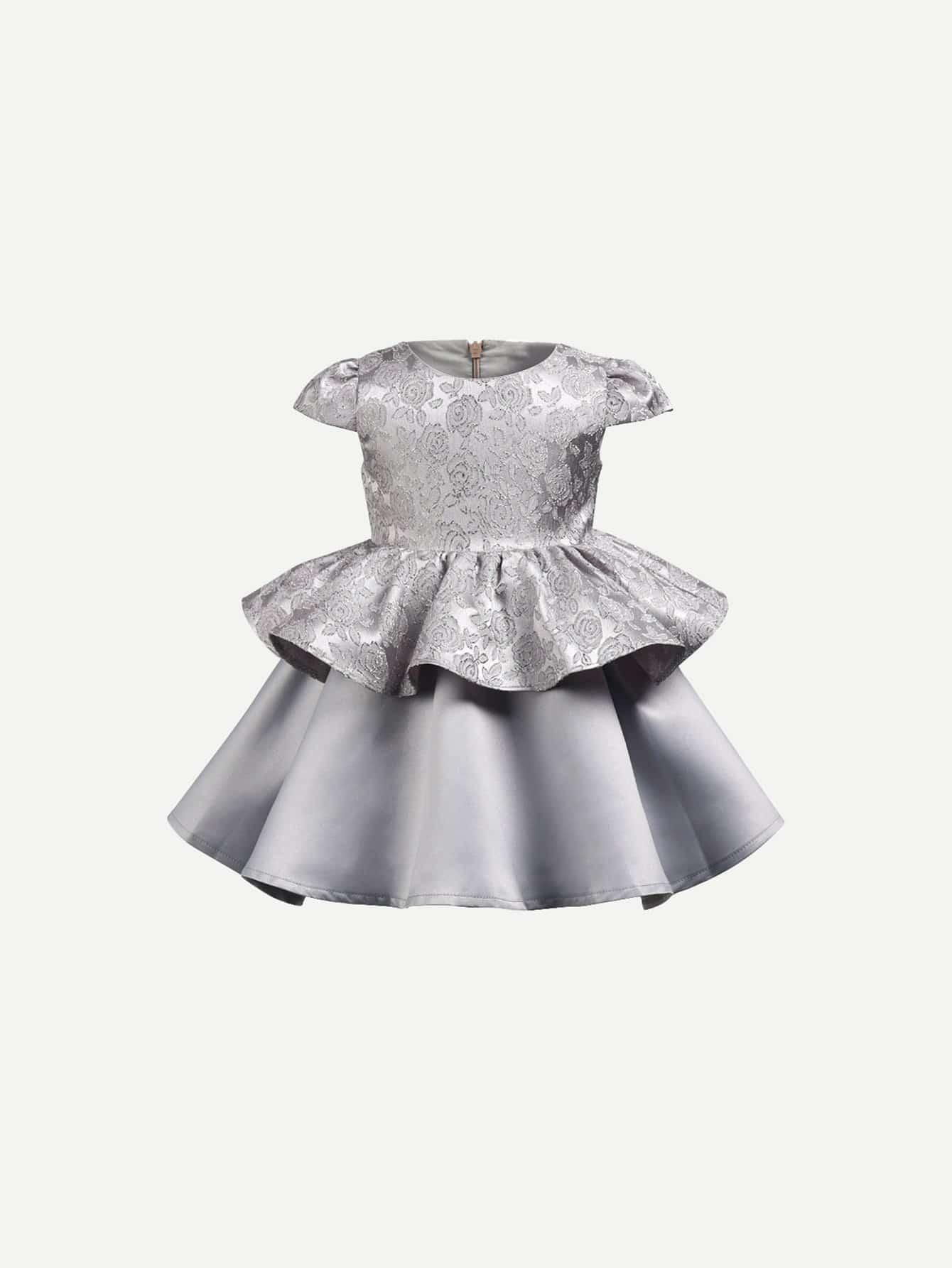 Купить Jacquard Peplum Платье для девочки, null, SheIn