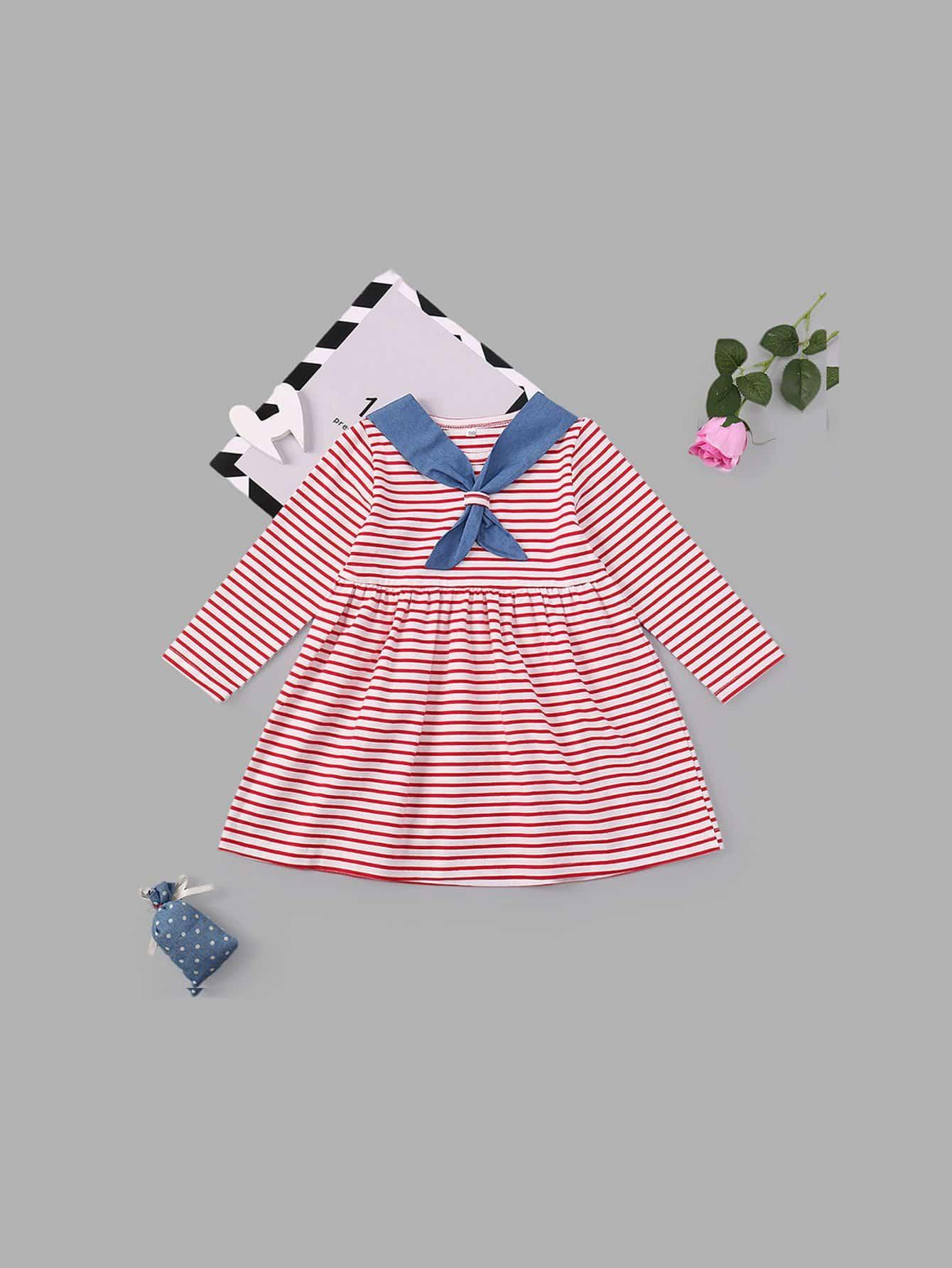 Girls Striped Long Sleeve Dress autumn winter baby kids dresses children girls long sleeve princess dress baby girls clothes dress for girl