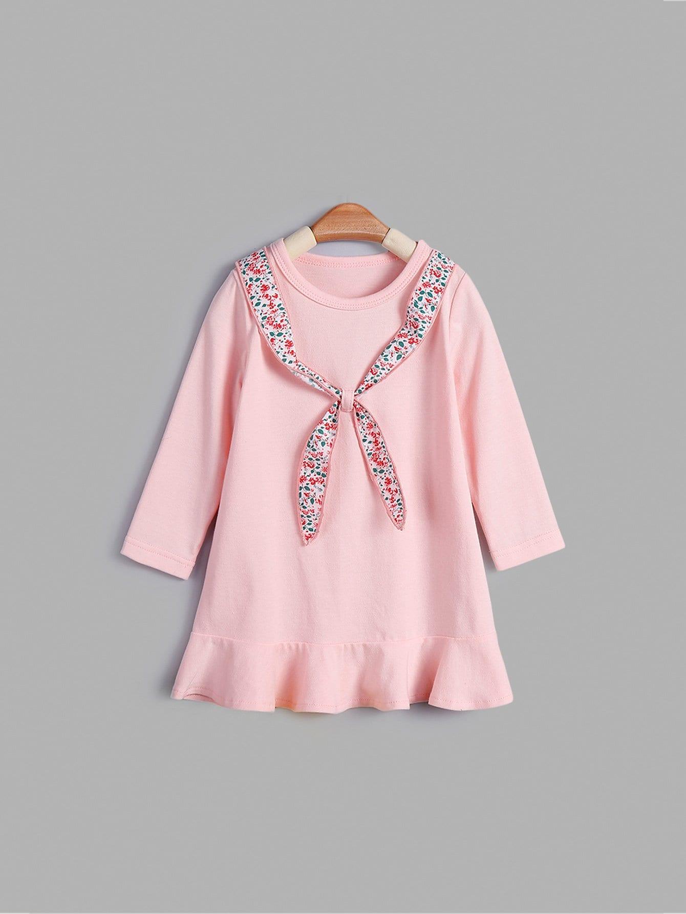 Купить Платье в клетку и подол с складками для девочки, null, SheIn