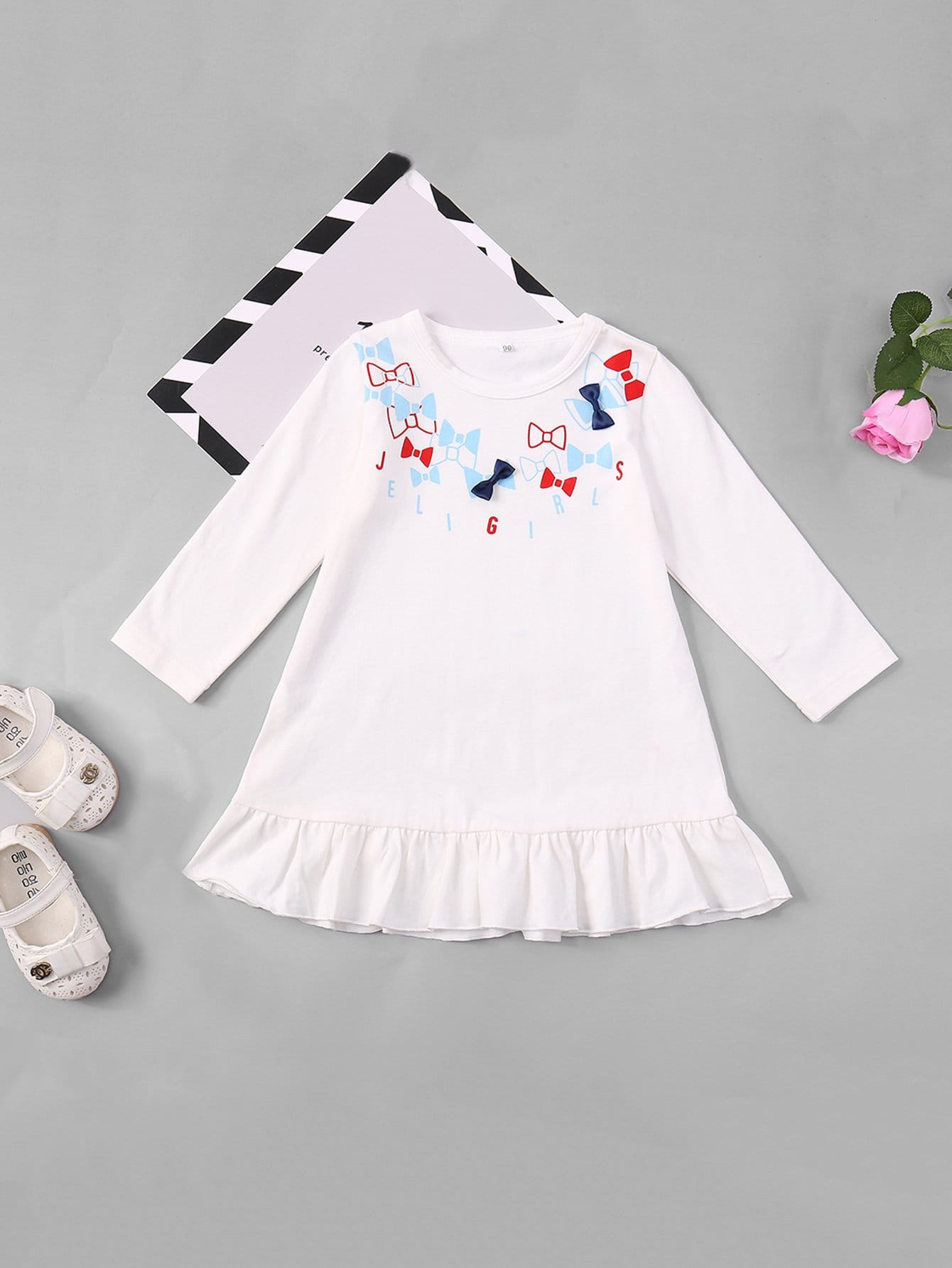 Girls Bow Print Ruffle Hem Dress 2017 new brand baby girls summer dress kids white bow dress for girls children navy leisure fashion girls clothes