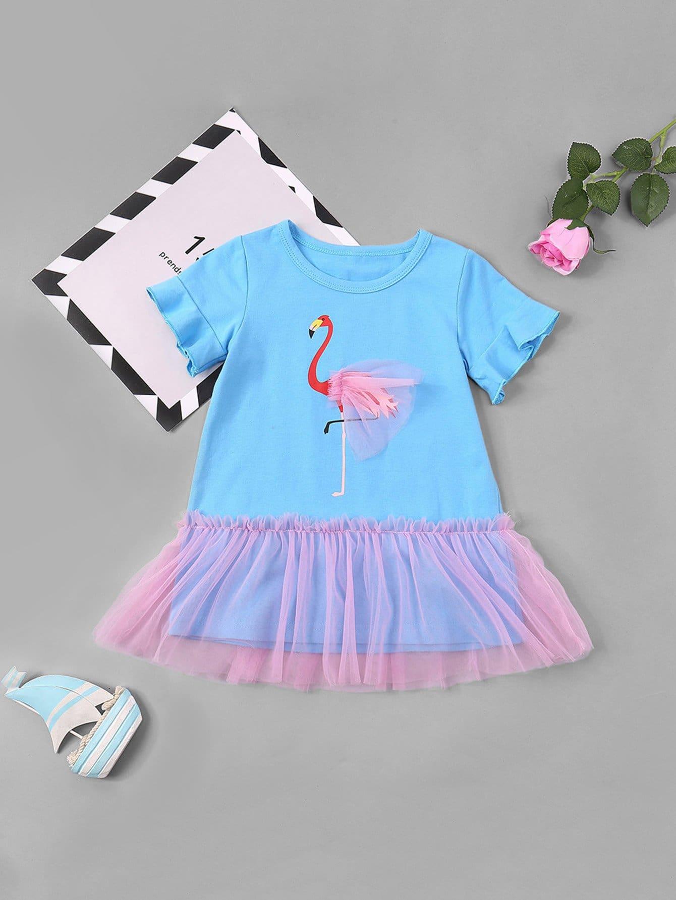 все цены на Girls Flamingo Print Contrast Mesh Tee